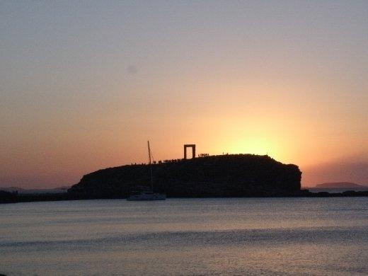 Sunset at Portara - ancient temple remains 800BC
