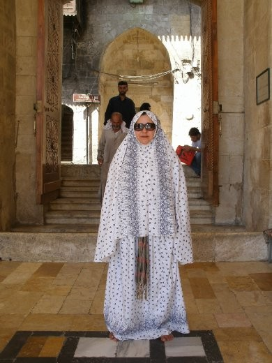 Luiza in penguin outfit at Umayyad Mosque - Aleppo