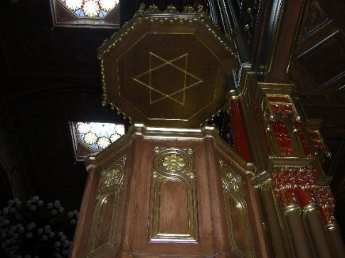 Inside the great synagogue in Budapest.
