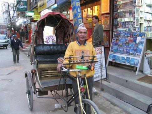 My last bicycle rickshaw, polished brass and a big smile. goodbye KTM