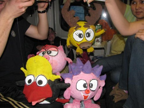 Strange puppets that friendly students made for their course