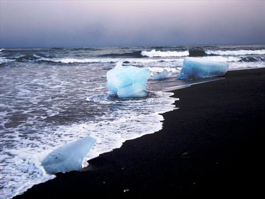 Floating ice blocks in Blue lagoon (Iceland)
