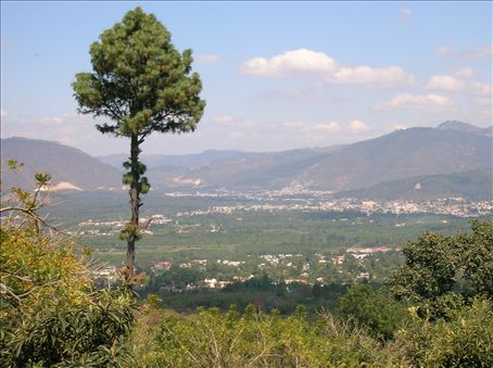 Antigua in the valley - picture taken from horseback from the foothills of Volcan Agua
