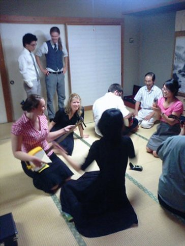 The Shamisen teacher (in black) says her shamisen was a gift from her mother and is worth $10,000.00 I didn't dare go near it.