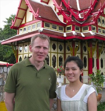 Me and Three outside the royal train station at Hua Hin. The king gets his own station next to the main station.
