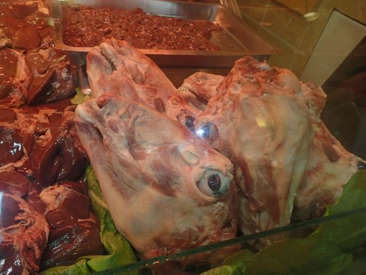 Sheep's heads on sale at the Spice market