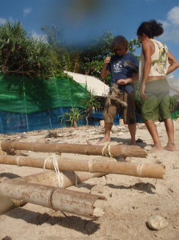 building a raft to sail to India. Didn't make it.