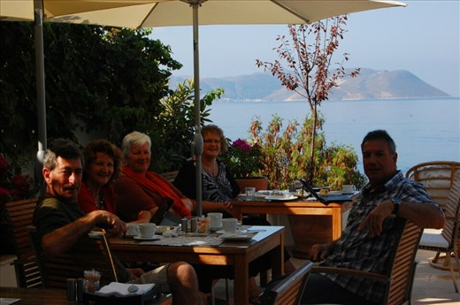 Breakfast on the patio overlooking Mediterranean