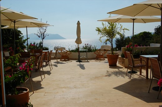 Our hotel patio looking toward Greek Islands from Kas