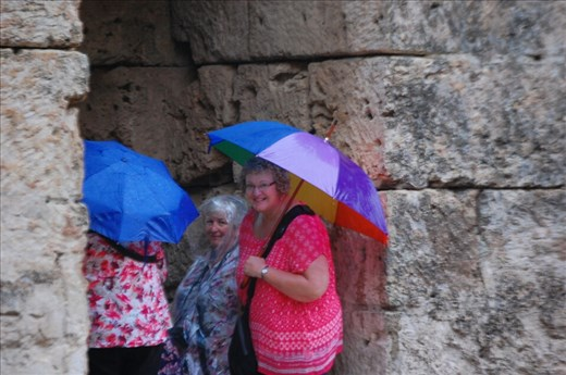 Hiding in the ruins at Perge from rain