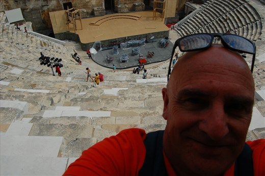 Selfie at top of Aspendos Theatre