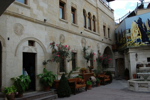 Courtyard stone cave hotel