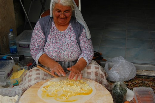 Lady rolling Gozleme for our dinner