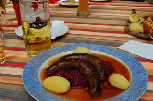 Wild Boar sausage,,, Cabbage and a Beer.