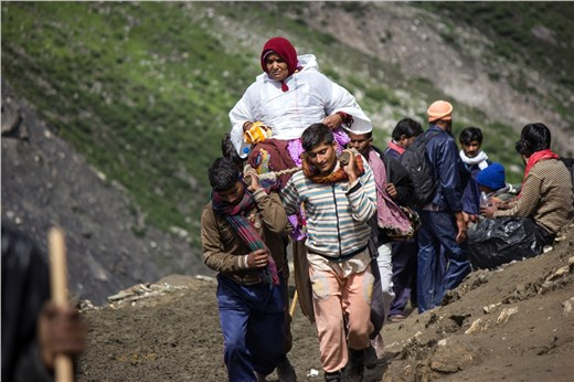 An Old lady on the way of Amarnath.
