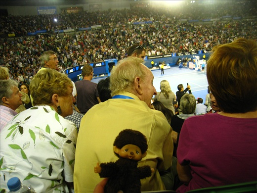 Could not believe my luck, Rod Laver sat right in front of me during the semifinal!  He is for whom the arena is named after!