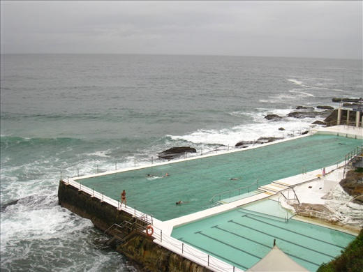 Rainy and cool at Bondi Beach, had a tough swim at the saltwater pool.