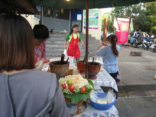 Found a street full of food vendors in Surat Thani while waiting to board the train. The mortar and pestle are used to crush together ingredients like chilis, shallots, sugar, fish sauce, vinegar, and garlic for various salads.