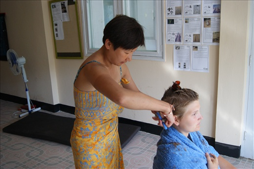 Apparently I can cut hair!  A very brave client #1.