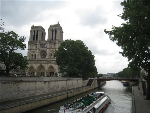 Notre Dame cathedral against the scenic Seine, splendid.