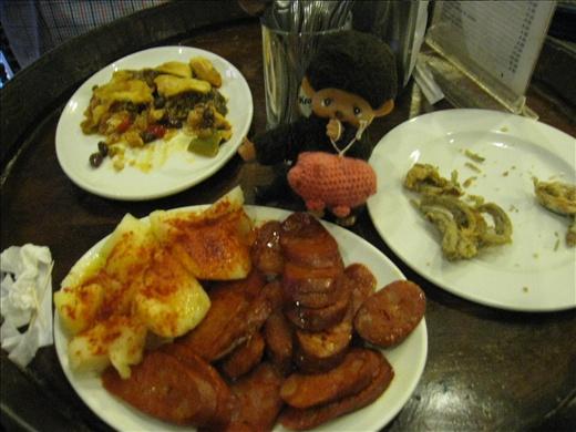 Went on a guided tapas tour, great food!  Salami, potatoes, empanadas, calamari.