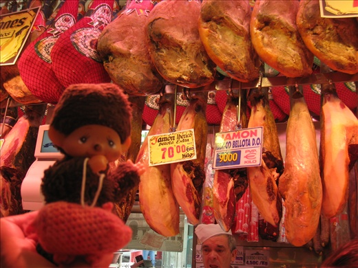 Monchi and Acorn with the legs of pigs that were fed acorns, which are extraordinarily fatty and delicious and pricey!