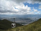 The cable car of Teleferiqo, which rises up to 3,650m/12,000 ft above sea level (Quito itself is at about 2,800m/9,200ft). Great view of the city and its surrounding volcanoes if on a clear day.: by pmok, Views[682]