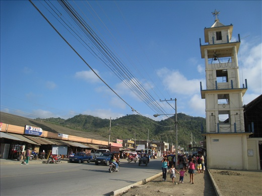 The busiest street in Puerto Lopez on a rare sunny day (in the winter months it's usually cloudy), this is like a metropolis compared to Tofo!