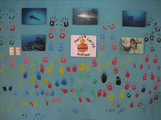 Part of my volunteering that involves no dead animals, just noisy children.  On Saturdays we host the Ecoclub, a club for local children to teach them about marine ecosystem and conservation. We had them put their handprints on the wall of our house, so cool!