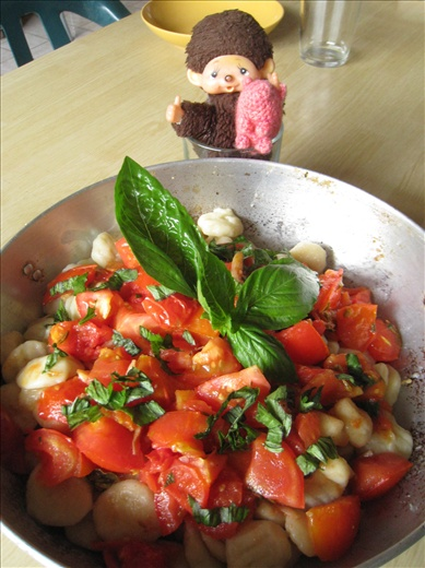 Gnocchi with a simple tomato, garlic, and basil sauce. Perfect for a hearty lunch!