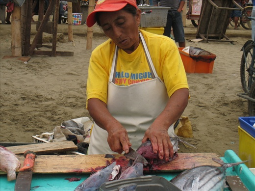 A butcher cuts and cleans a tuna, the red flesh looks so delicious, give me some wasabi now!