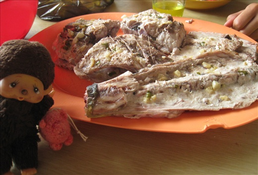 The parts of the fish not fit for cebiche, roasted on the bbq simply with lime juice, garlic, basil, s/p.