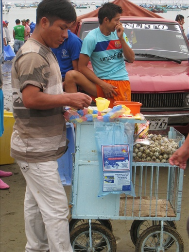 Another food vendor at the fish market, this one sells quail eggs. I would have one except it's insanely high in cholesterol, rather spend the quota on squid.