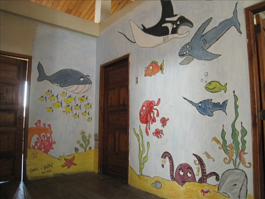 Two very creative and artsy volunteers painted the bare walls outside our bedrooms, took them days. So pretty, wish I have the talent!