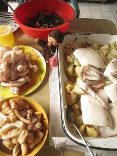 Calamari 3-way: baked with potatoes, stir-fried with garlic, and stir-fried with black bean sauce.