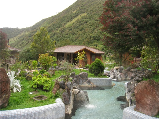 View of the hot springs outside our room at the Termas Papallacta, these pools were open to us 24 hours a day!