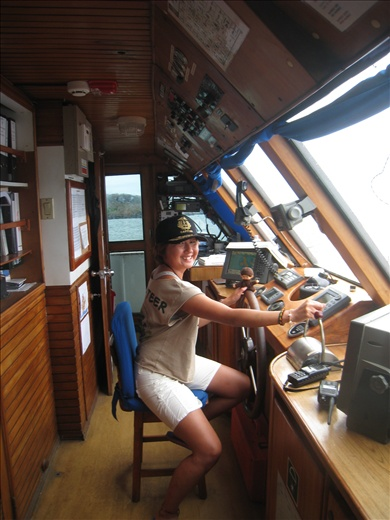 Sailing our boat the Eric with my sobrero de Capitan!