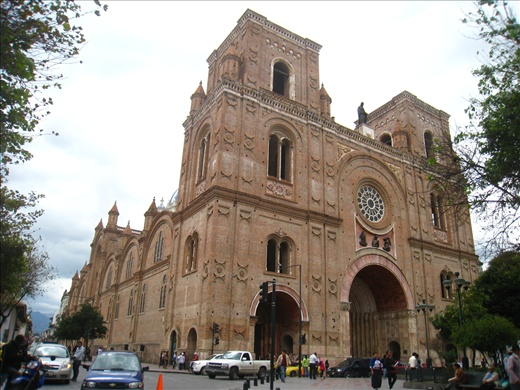 Main cathedral in Cuenca's historic center. Can also figure out where the