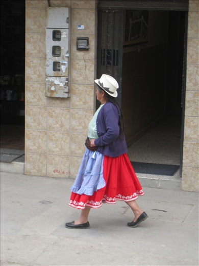 Traditional women's clothing of the indigenous tribe in Gualeceo