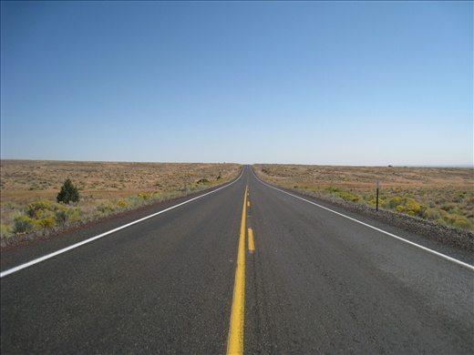 Highway 97 between Bend, Oregon and Kennewick, Washington, the highway was so empty, I stood in the middle to take this.