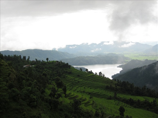 Old picture from Pokhara region: lake filled with monsoon rain