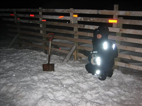 Mending my snowfence on 1st Dec 08. -18C and pitch black all day.