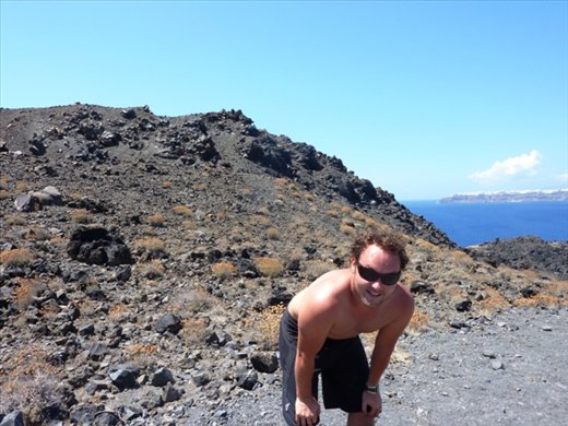 Puffed out after the walk up the volcanic Island