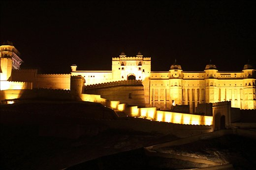 A view of AMBER FORT in Jaipur,Rajasthan,INDIA at night.