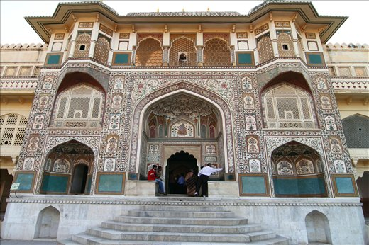 A view of excellent architectural work inside AMBER FORT, Jaipur,Rajasthan,INDIA