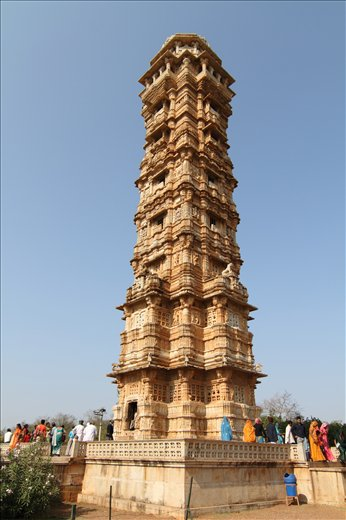 A view of VIJAY STUMBH (victory tower) in Chittorgarh Fort,Rajasthan,INDIA.