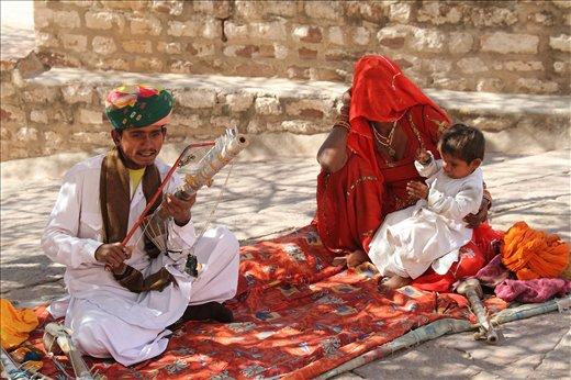 The family of a folk singer performing in Meherangarh Fort in Jodhpur,Rajasthan.