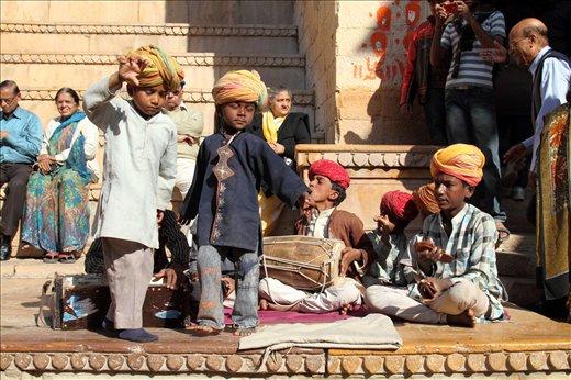 Kids dancing to the tune of folk songs inside Golden Fort,Jaisailmer,Rajasthan.