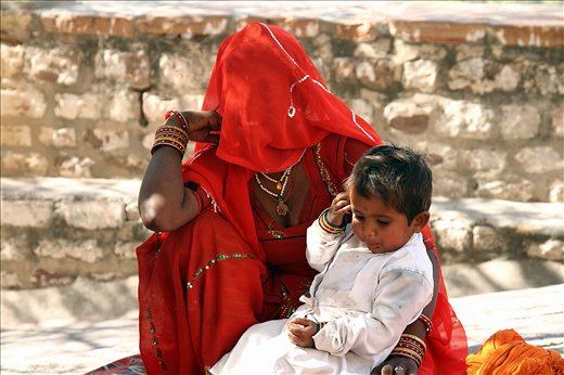 Mother & child belonging to the tribal community of Rajasthin,INDIA.