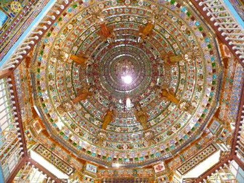 Beautiful Jain temple decorated in glass near Bikaner